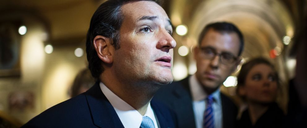 PHOTO: Ted Cruz is pictured leaving the Capitol following his 21 hour speech on the Senate floor opposing Obamacare on Sept. 25, 2013 in Washington, D.C.