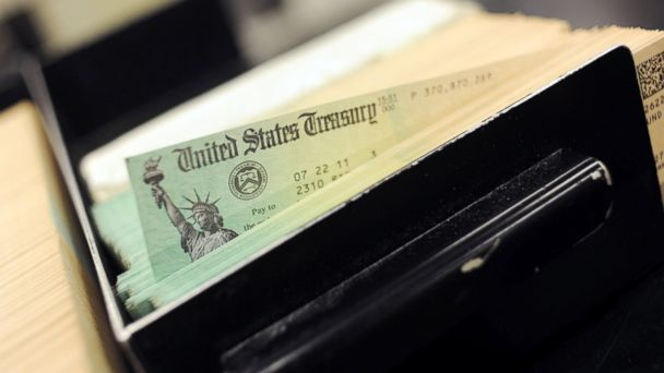PHOTO: U.S. Treasury checks are piled at the U.S. Treasury