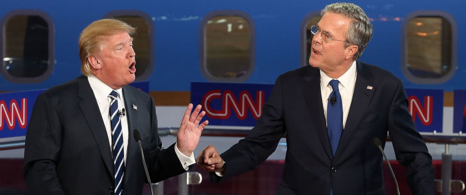 PHOTO: Donald Trump, left, and Jeb Bush, right, argue during the presidential debates at the Reagan Library on Sept. 16, 2015 in Simi Valley, Calif.