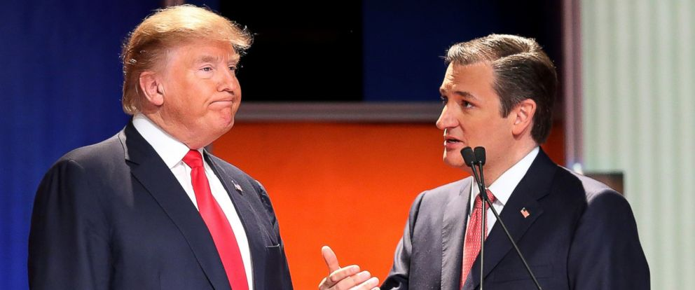 PHOTO: Donald Trump and Sen. Ted Cruz speak during the Fox Business Network Republican presidential debate at the North Charleston Coliseum and Performing Arts Center in this Jan. 14, 2016 file photo in North Charleston, S.C.