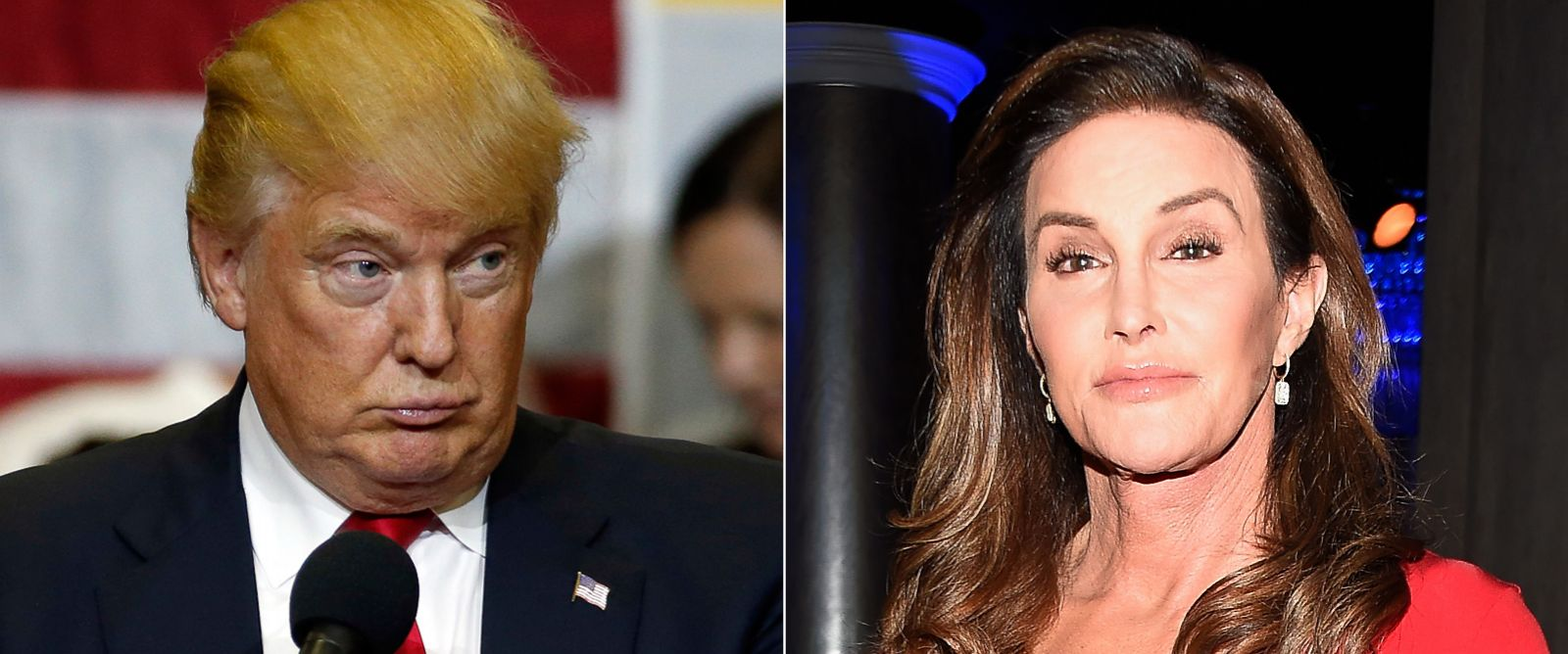 PHOTO: Donald Trump speaks during a campaign event at Stephen Decatur High School, April 20, 2016, in Berlin, Md. | Caitlyn Jenner attends the 27th Annual GLAAD Media Awards, April 2, 2016, in Beverly Hills, California.