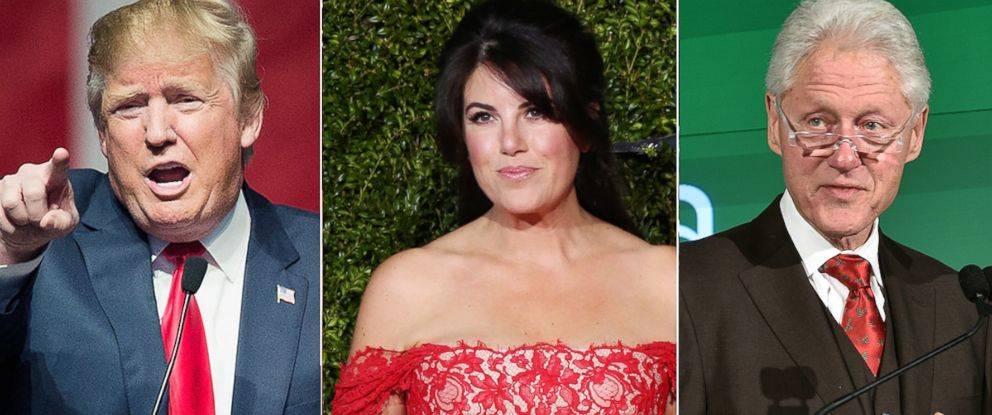 PHOTO:Donald Trump speaks to guests at a campaign rally, Dec. 21, 2015 in Grand Rapids, Mich. Monica Lewinsky attends the Tony Awards, June 7, 2015, in New York. Bill Clinton speaks onstage at the Kiva NYC launch event, Dec. 9, 2015 in New York.