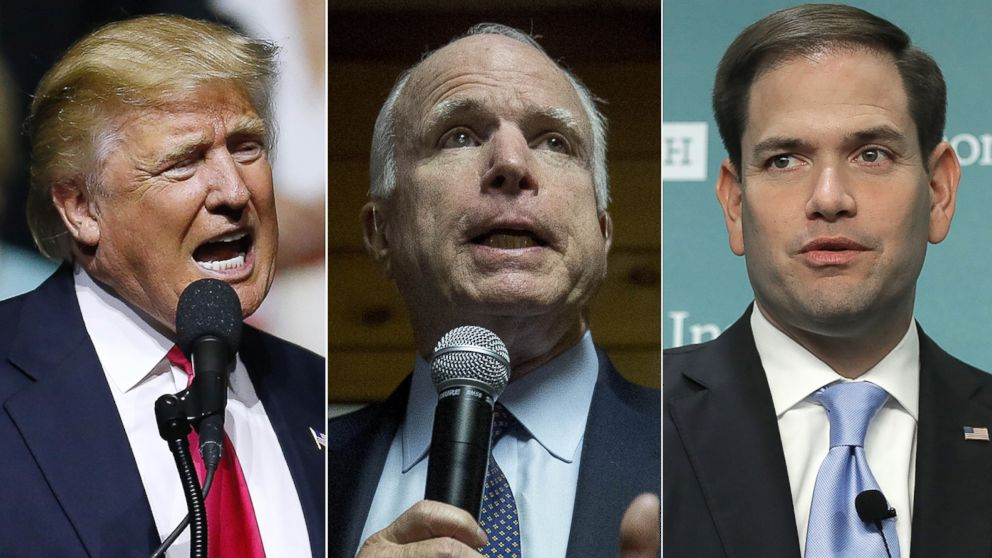 PHOTO: Pictured (L-R) are Republican Presidential nominee Donald Trump in Jackson, Mississippi, Aug. 24, 2016, Sen. John McCain in Dover, New Hampshire, Dec. 18, 2015 and Sen. Marco Rubio in Washington, May 10, 2016.