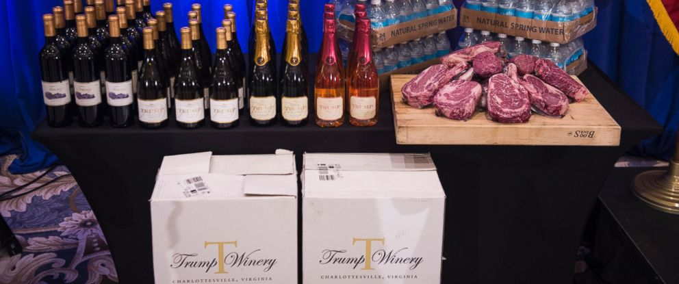 PHOTO: A display including Trump branded wine, champagne, water and steaks is seen before Donald Trump speaks at a campaign press conference event at the Trump National Golf Club in Jupiter, Fla., March 8, 2016.