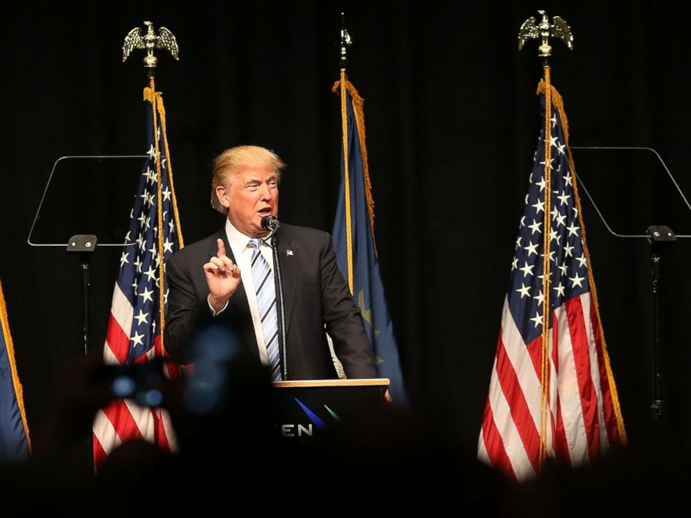 PHOTO: Donald Trump speaks at a rally , May 26, 2016, in Bismarck, North Dakota.