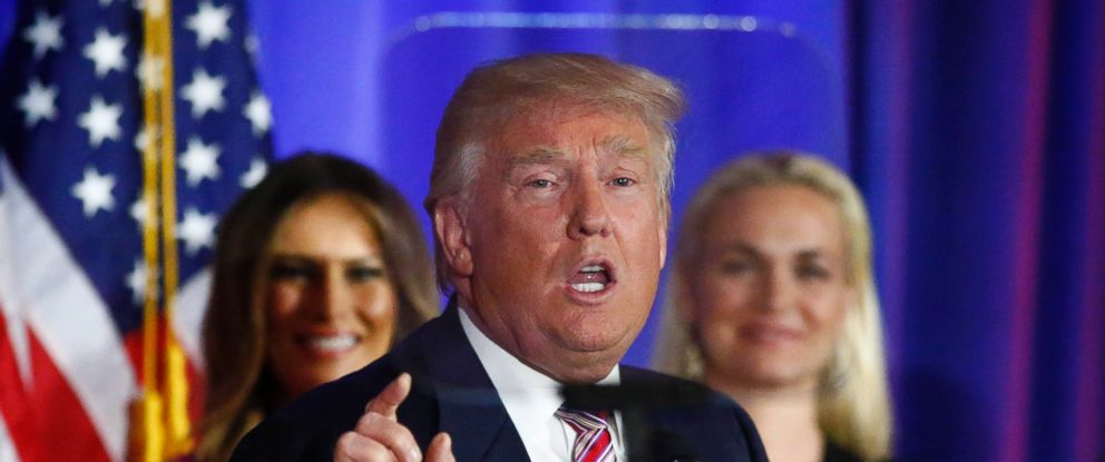 PHOTO: Donald Trump delivers remarks following primaries in California, Montana, New Jersey, New Mexico, North Dakota and South Dakota at Trump National Golf Club Westchester in Briarcliff Manor, New York, June 7, 2016.