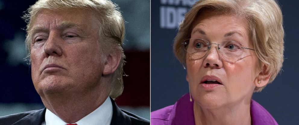 PHOTO:Donald Trump listens to a question during a town hall event in Tampa, Fla., March 14, 2016. Elizabeth Warren speaks during an interview at the Washington Ideas Forum in Washington, Oct. 1, 2015.