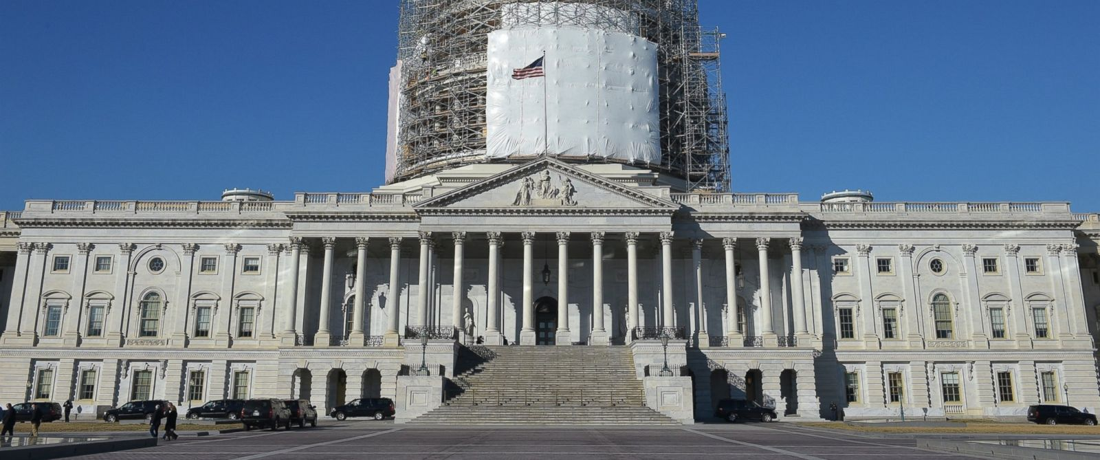 PHOTO: The U.S. Capitol is shown with its dome encased in scaffolding as it undergoes renovation in Washington, Feb. 11, 2015.