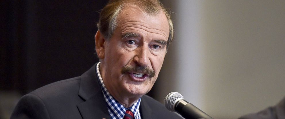 PHOTO: Former Mexican President Vicente Fox (2000-2006) gestures during a briefing with international press at a hotel in Mexico City, Sept. 22, 2014.