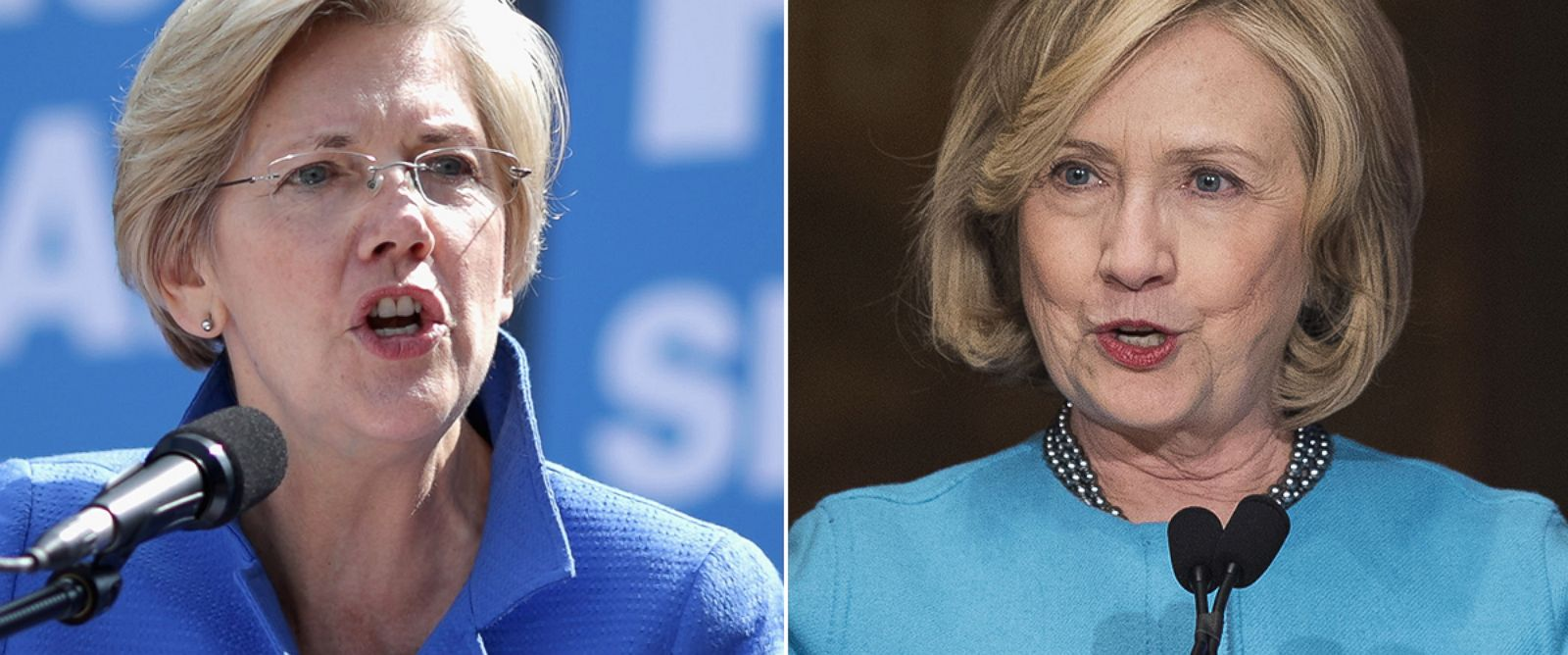 PHOTO: Elizabeth Warren, left, is pictured on Sept. 18, 2014 in Washington, D.C. Hillary Clinton, right, is pictured on Dec. 3, 2014 in Washington, D.C.