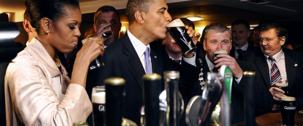 PHOTO: Michelle Obama and President Barack Obama sip Guinness at a pub as they visit Moneygall village in rural County Offaly, Ireland, where his great-great-great grandfather Falmouth Kearney hailed from, May 23, 2011.