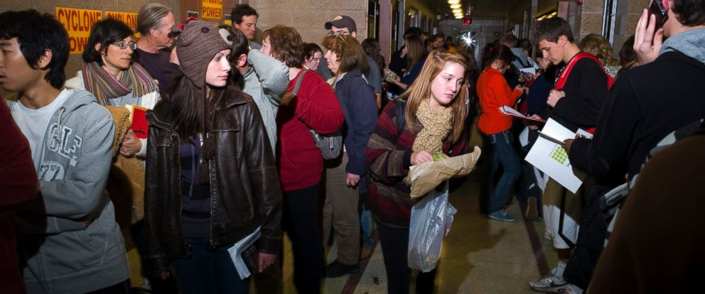 PHOTO: Many college students, wait for over two hours to cast their ballots at a polling site on the campus of Iowa State University in Ames, Iowa, Nov. 6, 2012.