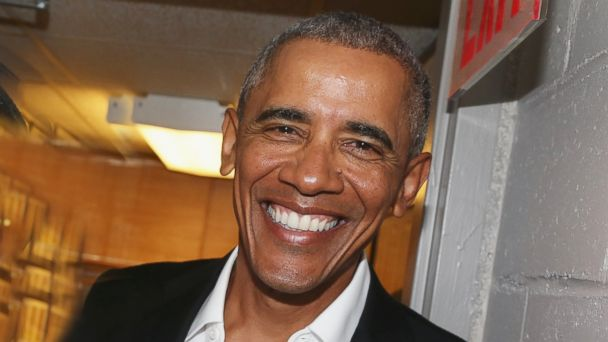 PHOTO: The 44th President of The United States Barak Obama, poses backstage at The Roundabout Theatre Company's production of