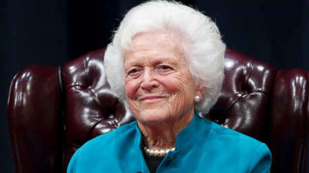 PHOTO: Former U.S. First Lady Barbara Bush discusses her White House experience at the George Bush Presidential Library Center at Texas A&M.