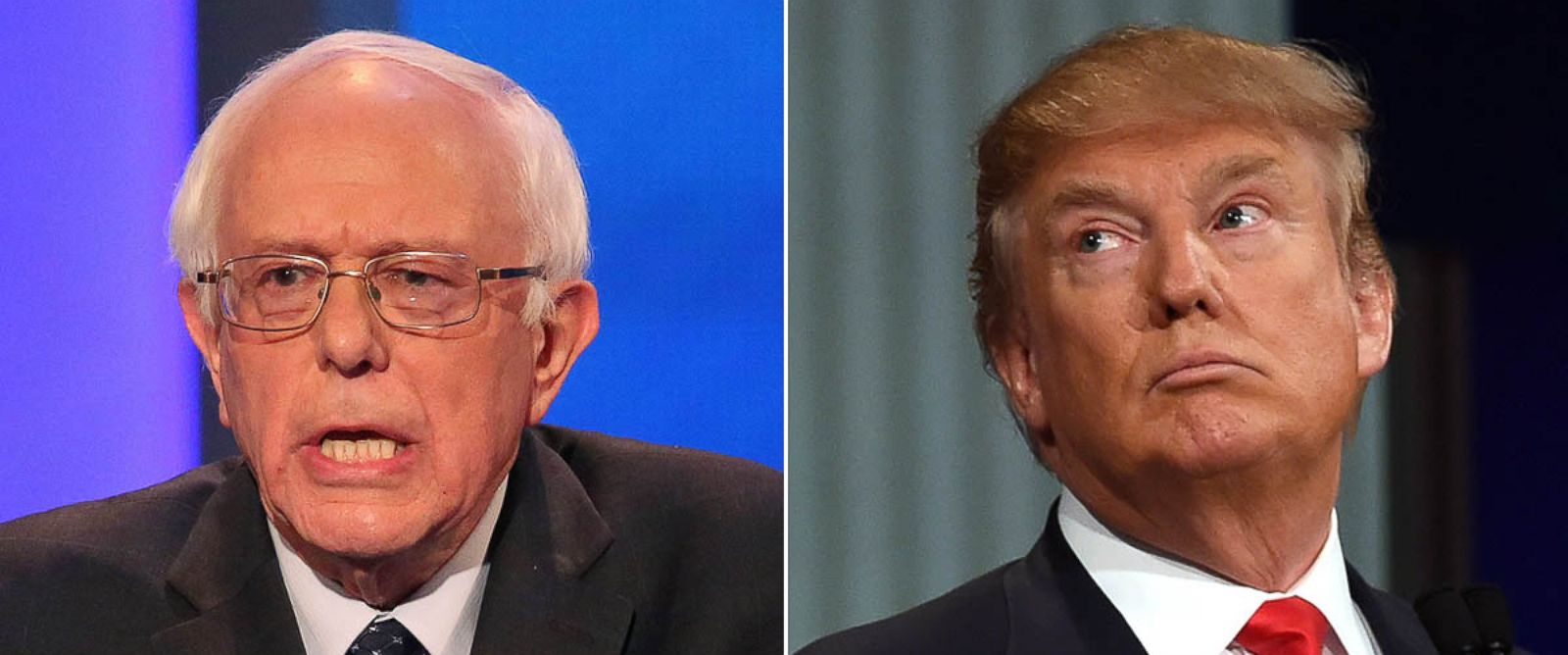 PHOTO: Democratic president candidate Bernie Sanders speaks at the debate on Dec. 19, 2015 in Manchester, N.H. Republican Presidential candidate Donald Trump participates in the Republican Presidential debate in Charleston, S.C. on Jan. 14, 2016.