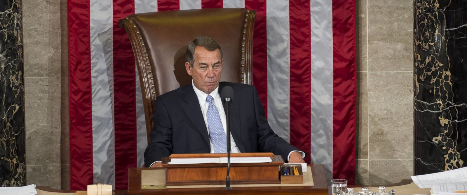 PHOTO: Outgoing Speaker John Boehner sits in the Speakers chair for the final time as Speaker in the House Chamber at the US Capitol in Washington, Oct. 29, 2015.