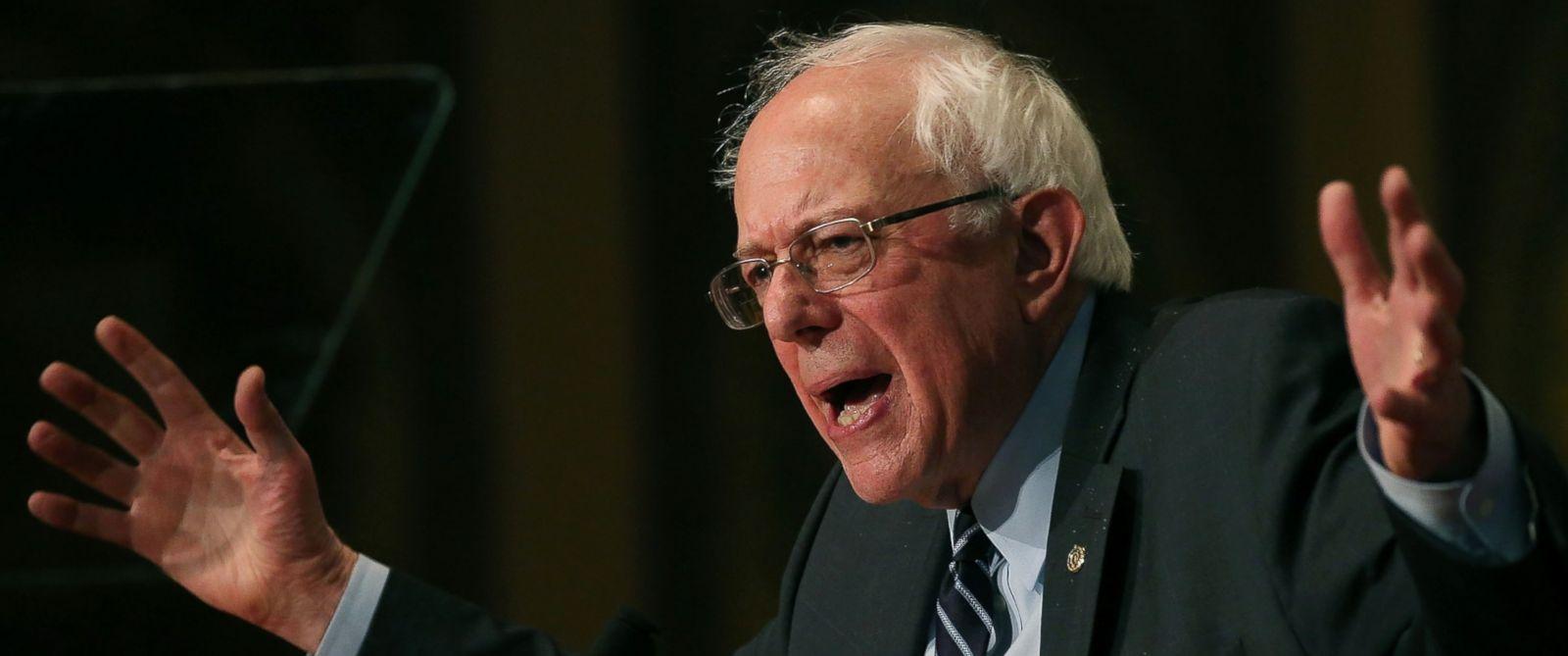 PHOTO: Democratic Presidential candidate Sen. Bernie Sanders speaks about combating ISIS and democratic socialism at Georgetown University Nov. 19, 2015 in Washington.