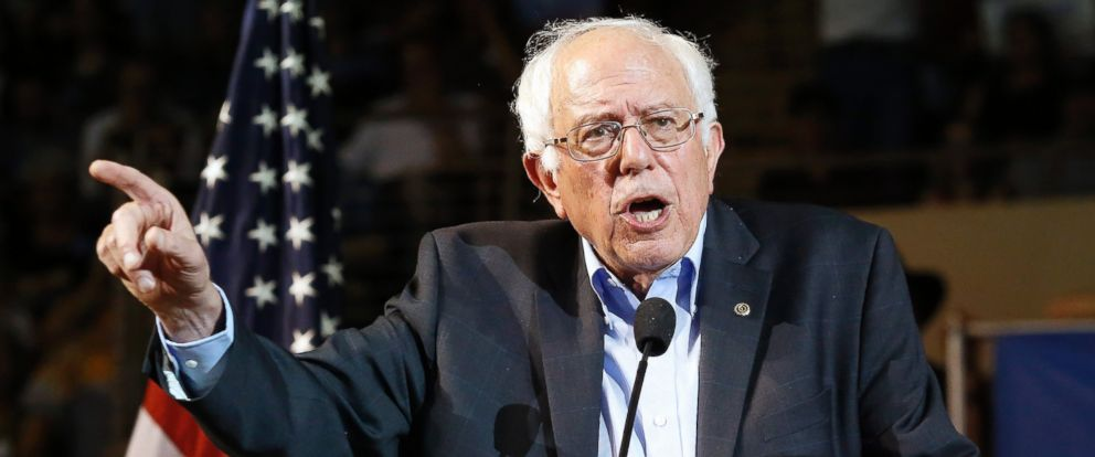 PHOTO: Vermont Sen. Bernie Sanders speaks at the Cross Insurance Arena while campaigning in the Democratic presidential primary, July 6, 2015, Portland, Maine.