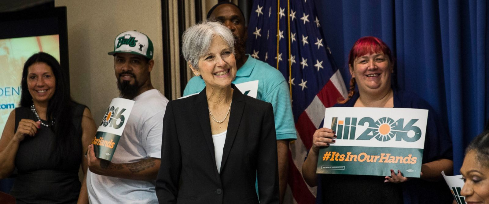 PHOTO: Jill Stein smiles after announcing that she will seek the Green Partys presidential nomination, at the National Press Club, June 23, 2015, in Washington.
