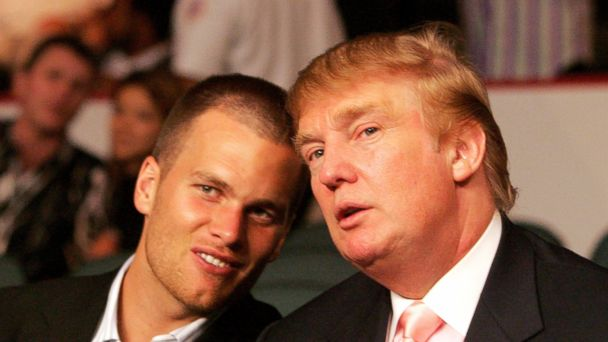 PHOTO: Tom Brady chats with Donald Trump at the WBC Lightweight Title Fight, June 25, 2005.