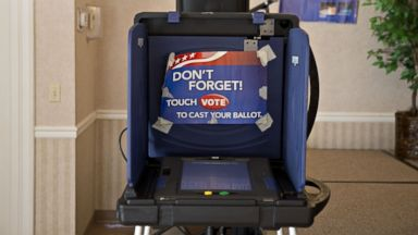 PHOTO: An electronic voting booth stands at a polling station inside Our Savior Lutheran Church during the South Carolina Republican presidential primary election in Columbia, South Carolina, Feb. 20, 2016.