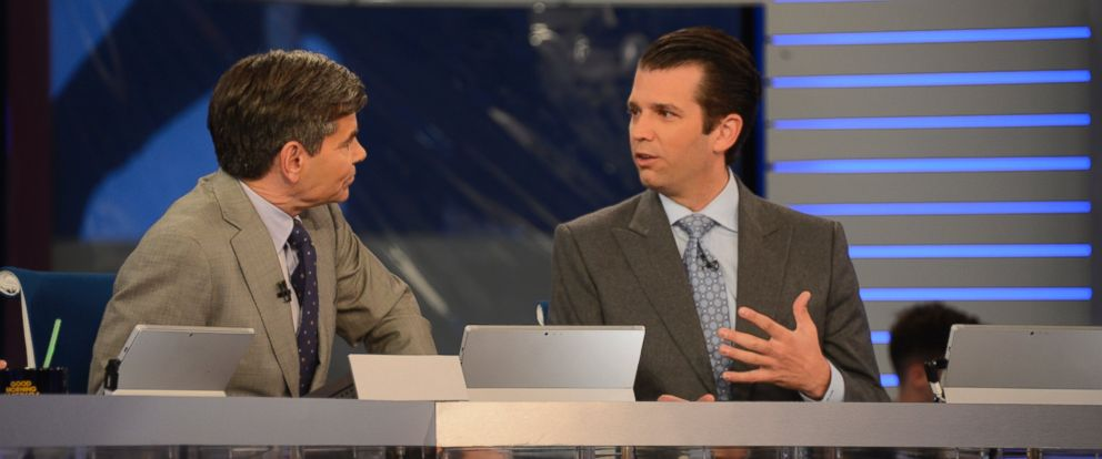 """PHOTO: """"Good Morning America"""" broadcasts special coverage of the 2016 Presidential Election from ABC News Election Headquarters in Times Square, with Donald Trump Jr., Nov. 8, 2016, in New York City."""