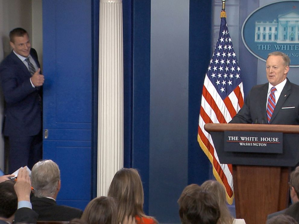 PHOTO: New England Patriots player Rob Gronkowski interrupts Sean Spicer at the White House press briefing, April 19, 2016, in Washington.