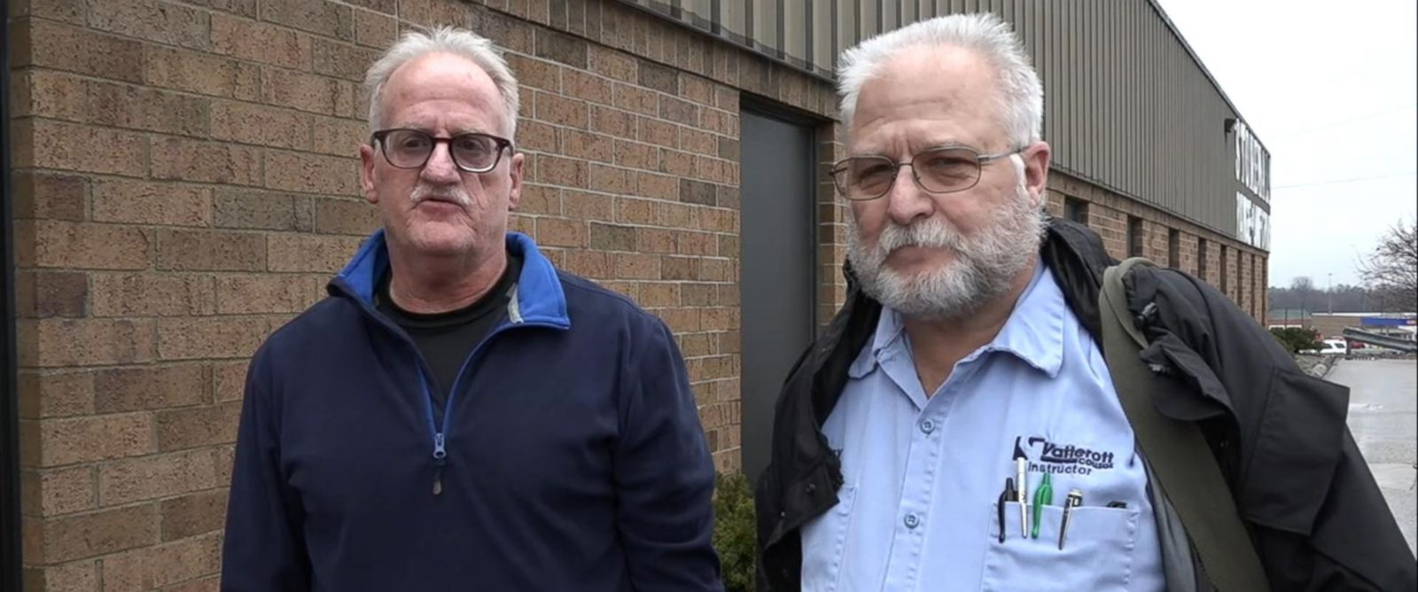 PHOTO: Ron Kuhn (left) and Terry Klein (right) are both college instructors in Ohio and think Trump will be good for the economy and jobs.