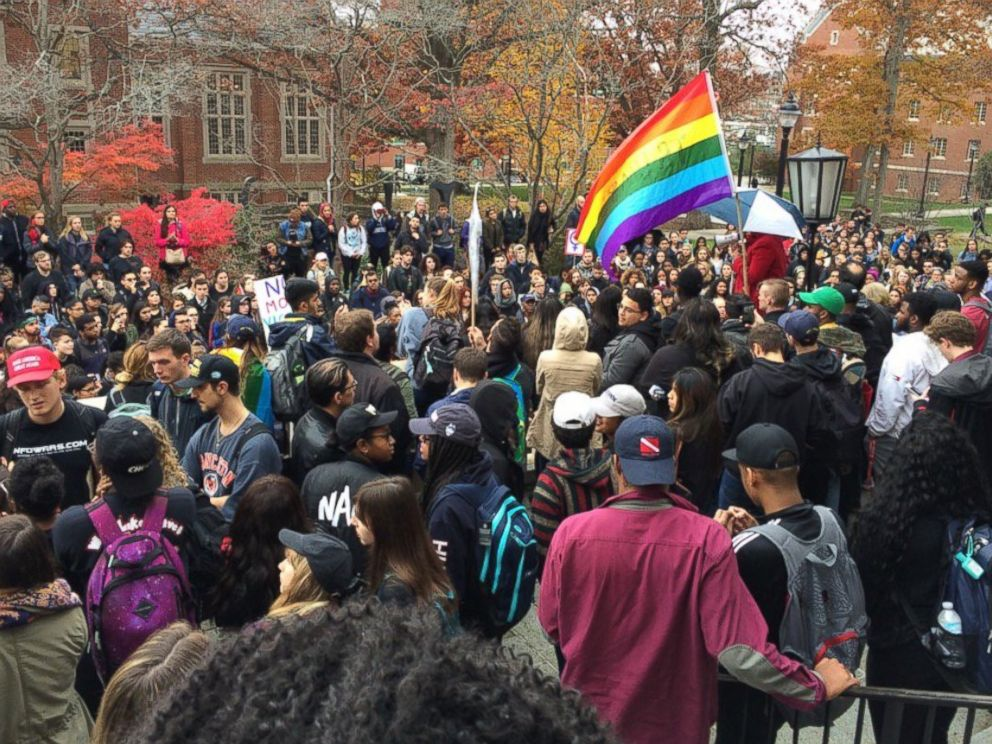 PHOTO: People protest on the University of Connecticut campus against the election of Republican Donald Trump as president, Nov. 9, 2016, in Storrs, Conn. The chief diversity officer reassures minority students the university has their backs.