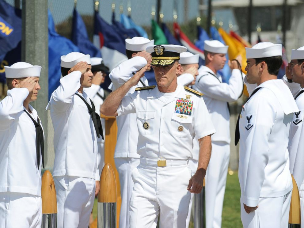 PHOTO: Vice Adm. Robert S. Harward, walks through sideboys during the SEAL Team 5 change of command ceremony.