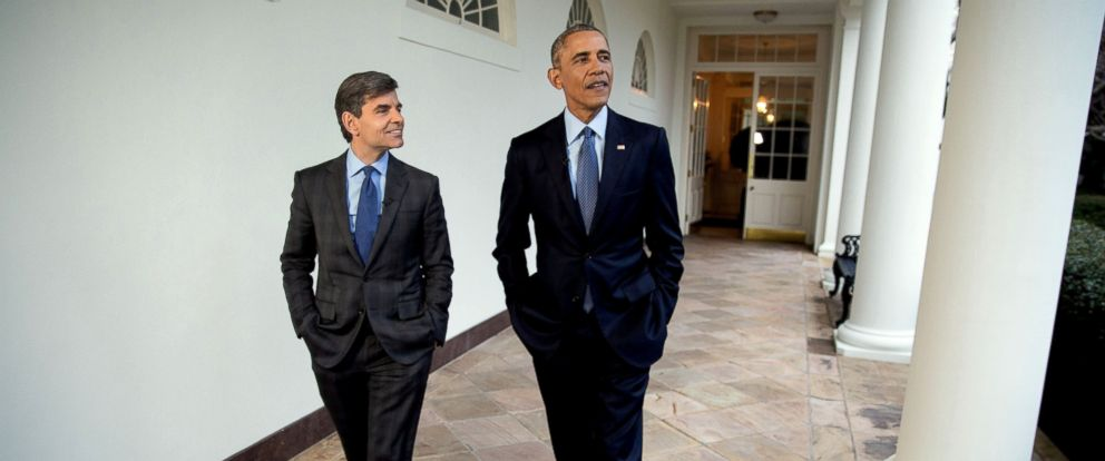"""PHOTO: President Barack Obama participates in an interview with George Stephanopoulos for ABCs """"This Week with George Stephanopoulos"""" as they walk along the Colonnade to the Oval Office at the White House, Jan. 6, 2017."""
