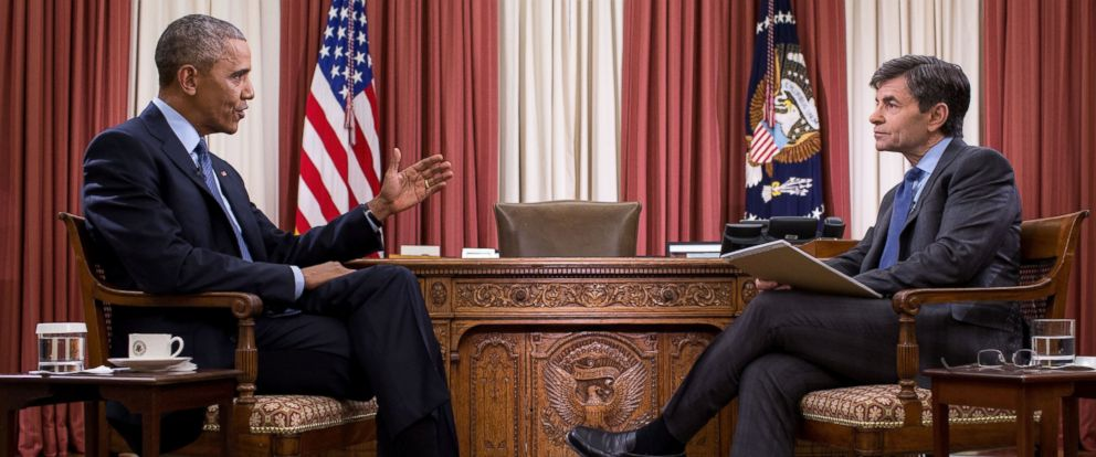 """PHOTO: President Barack Obama participates in an interview with George Stephanopoulos for ABCs """"This Week with George Stephanopoulos"""" in the Oval Office of the White House, Jan. 6, 2017."""