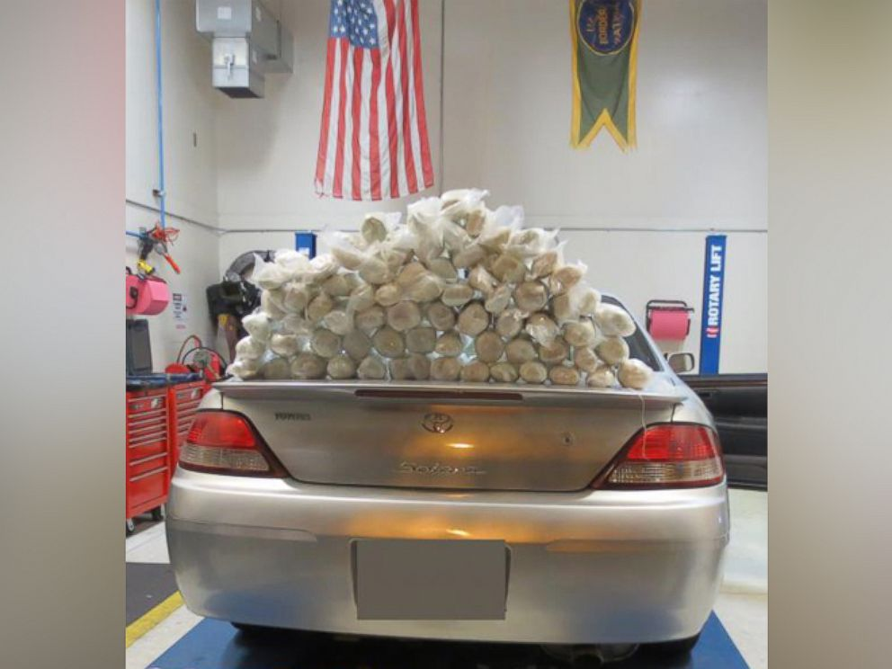 PHOTO: Sixty-nine packages of methamphetamine were found hidden inside the rocker panels of the vehicle.