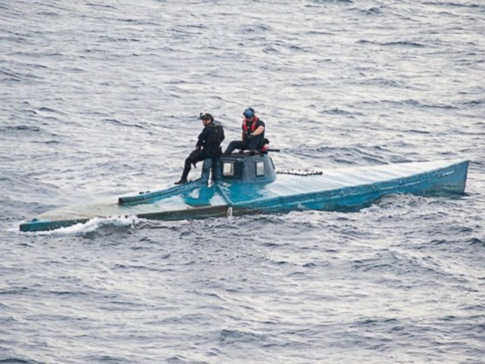 PHOTO: A semi-submersible craft carrying more than 16,870 pounds of cocaine in the eastern Pacific Ocean on July 18, 2015.