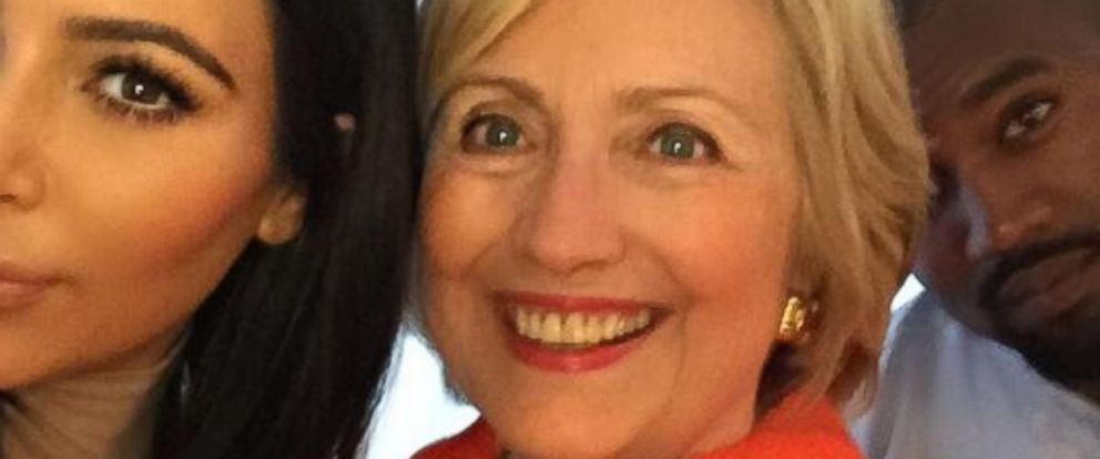 "Kim Kardashian tweeted this photo on August 7, 2015, with the caption, ""I got my selfie!!! I really loved hearing her speak & hearing her goals for our country! #HillaryForPresident."""