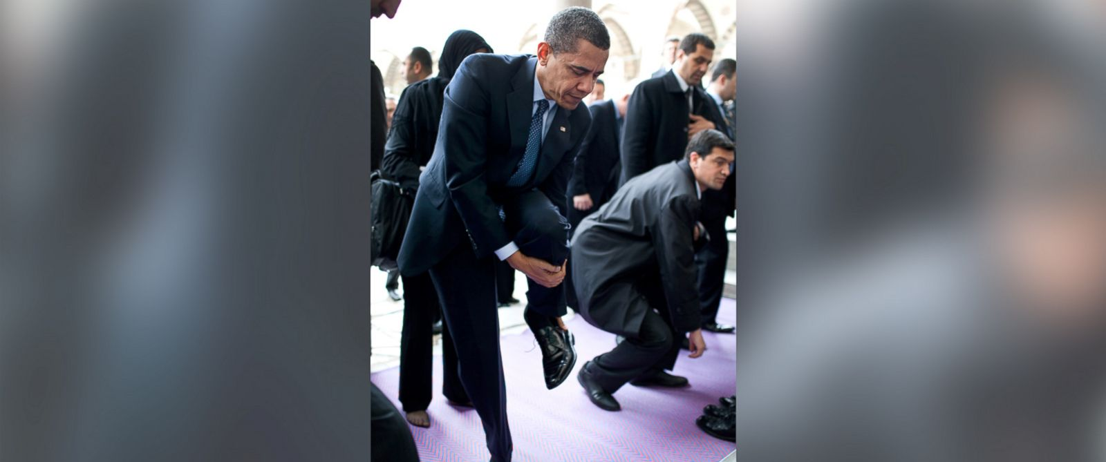PHOTO: President Barack Obama removes his shoes as he prepares to visit the Blue Mosque April 7, 2009, in Istanbul, Turkey.