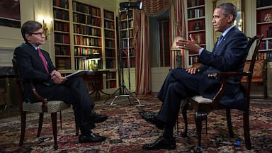 "PHOTO: President Barack Obama is interviewed by George Stephanopoulos for ABCs Sunday morning program ""This Week"""