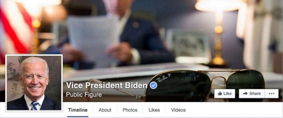PHOTO: The Facebook page of Vice President Joe Biden is pictured here.