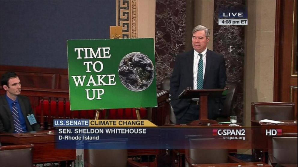 PHOTO: Sen. Sheldon Whitehouse, D-R.I., speaks on the U.S. Senate floor about climate change.