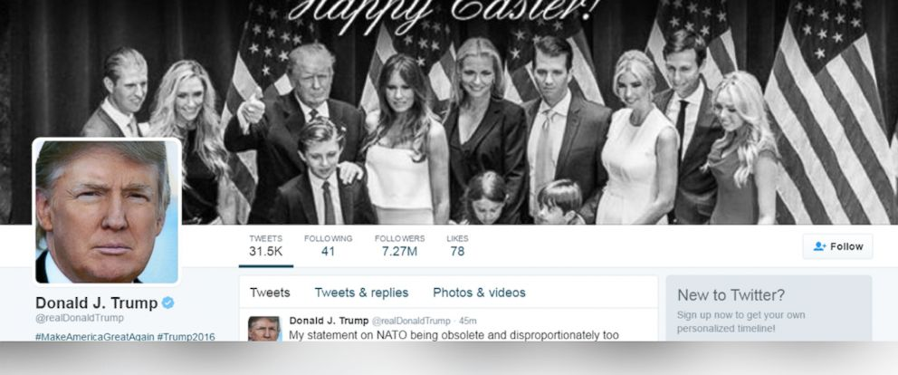 PHOTO: A screenshot of Donald Trumps Twitter page.