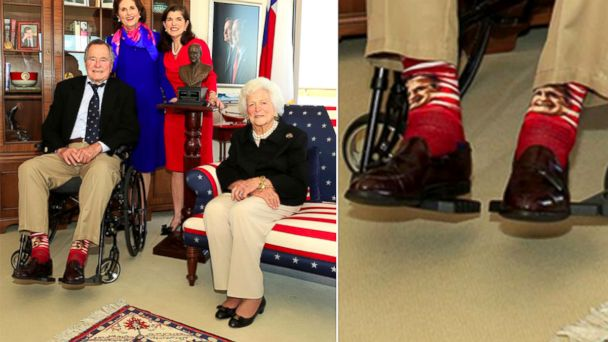 HT george h w bush socks v3 sk 131218 16x9 608 George Bush Face Socks Raise Hundreds of Dollars for Charity