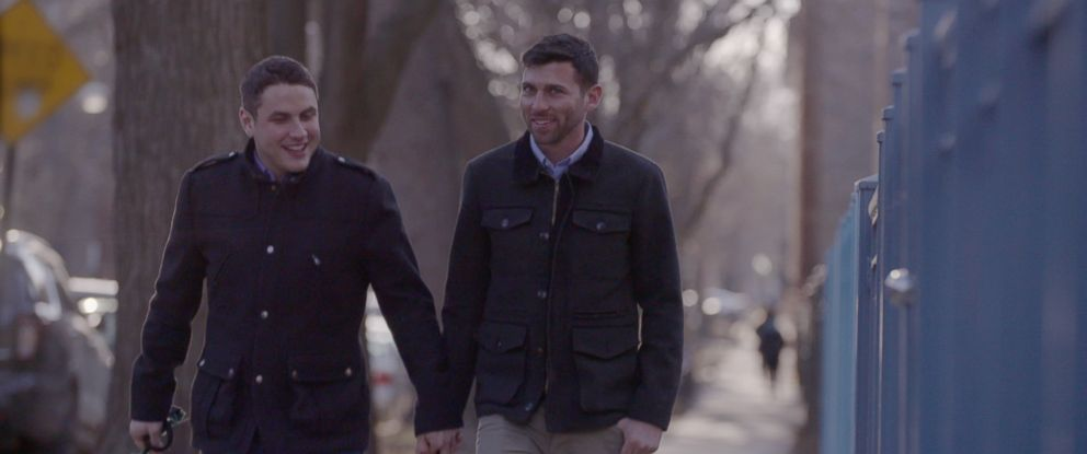 PHOTO: Jared Milrad, left and Nathan Johnson, a gay couple from Chicago, were featured in Hillary Clintons presidential announcement video on April 12,