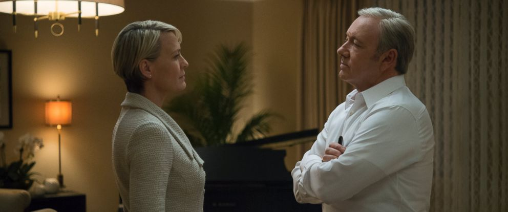 "PHOTO: Kevin Spacey and Robin Wright portray Frank and Claire Underwood in season four of the Netflix original series ""House of Cards."""