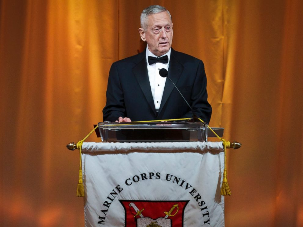 PHOTO: Retired U.S. Marine Gen. James N. Mattis delivers his remarks during the Semper Fidelis Award Ceremony and Dinner sponsored by the Marine Corps University Foundation in Arlington, Virginia, Feb. 22, 2014.