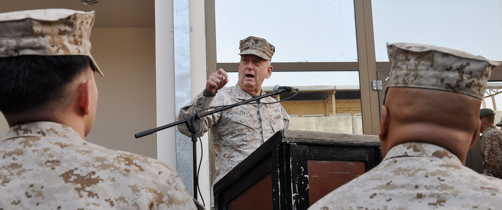 PHOTO: U.S. Marine Corps Gen. James N. Mattis, Commander, U.S. Central Command, addresses members from the Combined Joint Interagency Task Force 435, Dec. 25, 2011, Camp Phoenix, Kabul, Afghanistan.