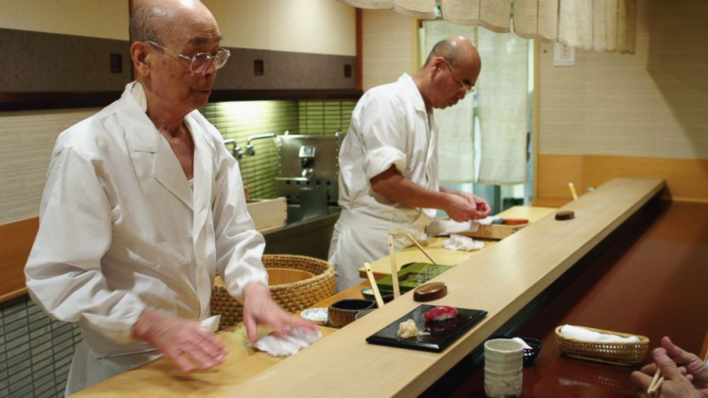 PHOTO: Jiro Ono and Yoshikazu Ono in Jiro Dreams of Sushi.