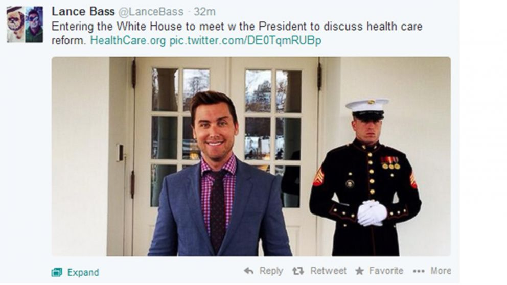 PHOTO: Lance Bass made a visit to the White House to talk healthcare reform.
