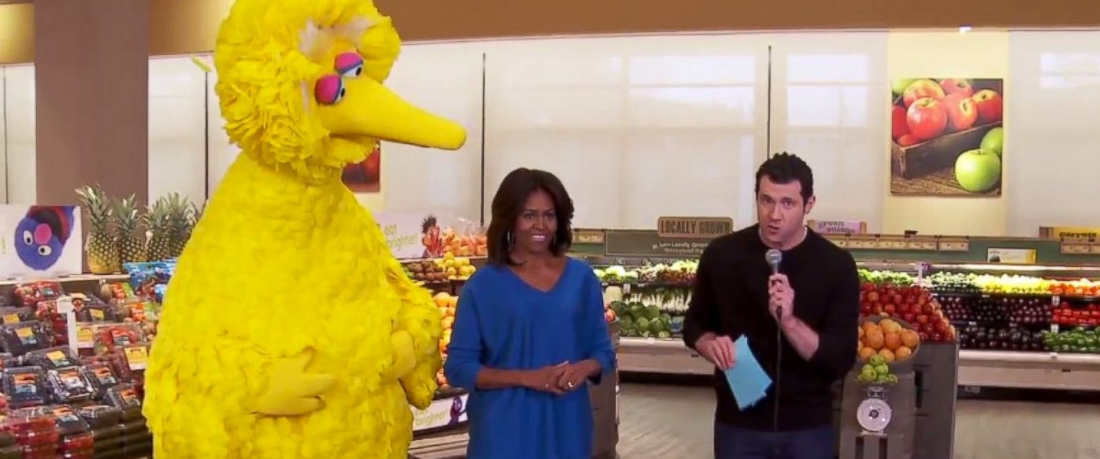 PHOTO: Michelle Obama and Big Bird partake in a Funny or Die video with Billy on the Street.