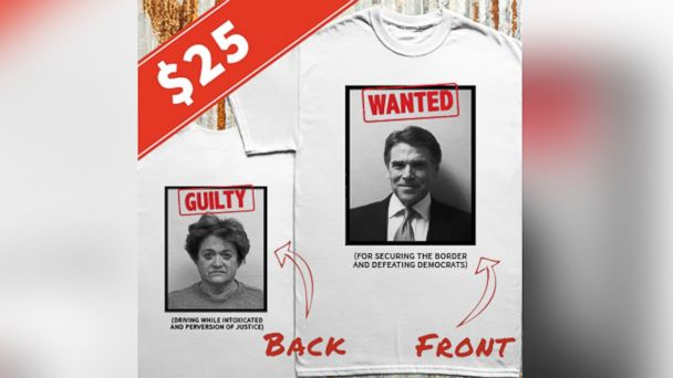 Rick Perry Selling Double-Mugshot T-Shirts