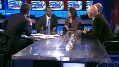 PHOTO: Dr. Ben Carson, James Carville, Matthew Dowd and Katrina vanden Heuvel on This Week.
